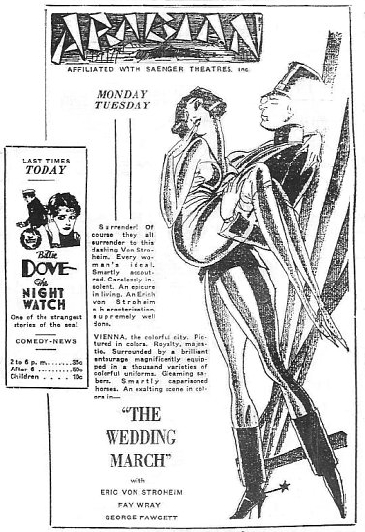 The Wedding March Advertisement circa. 1928