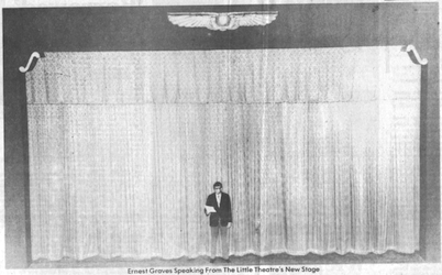 Ernest Graves in front of the 'new' stage